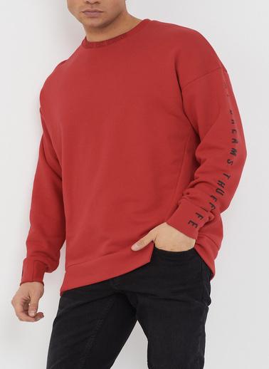 XHAN Gül Kurusu Baskılı Yumuşak Dokulu Sweatshirt 1Kxe8-44485-65 Kırmızı